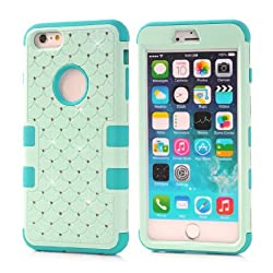 iPhone 6s Case,Quola Studded Rhinestone Crystal Bling Hybrid Armor Case Cover For Apple iPhone 6 (2014) / iPhone 6s (2015) with Free Screen Protector and Stylus(Light Navy and Blue)
