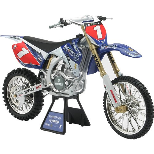 New Ray Yamaha San Manuel YZ450F #1James Stewart Replica Motorcycle Toy w/ Free B&F Heart Sticker Bundle - Blue/White / 1:6 Scale