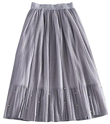 Women's Pleated Skirt Ladies Chiffon Bohimian Beach Maxi Long Midi Skirt