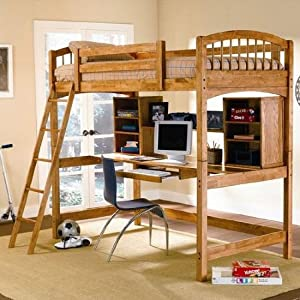 Wood Workstation Bunkbed furniture for apartment