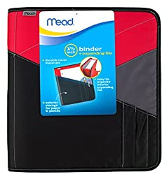 Mead Zipper Binder with Expanding File, 3 Ring Binder, 1-1/2\