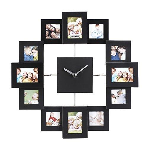 VonHaus 12 Picture Aluminum Decorative Photo Frame Wall Clock Black (Aluminum Pictures compare prices)