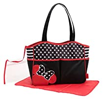 Disney Minnie Mouse Dots And Bows 4 Poster Tote Diaper Bag, Black/White/Red