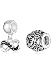 CHARMED BEADS Sterling Silver Infinity Filigree Bead Charm Set