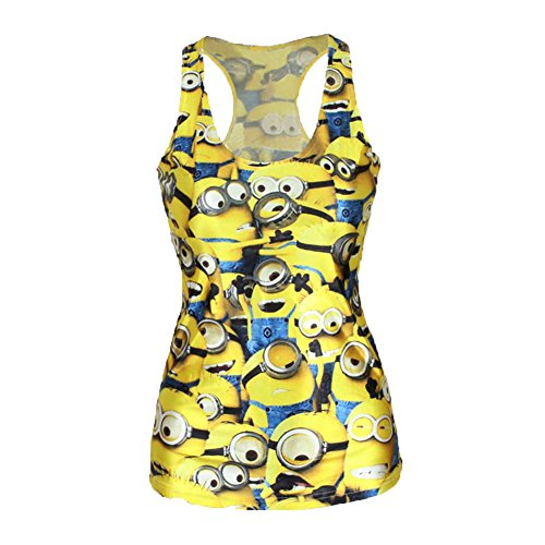 Sexyinlife Women Fashion Sleeveless Despicable Me Minions Yellow Vest