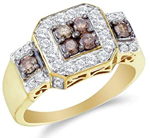Size 4 - 14K Yellow Gold Large White and Chocolate Brown Diamond Halo Engagement OR Fashion Right Hand Ring Band - Square Princess Shape Center Setting w/ Channel Set Round Diamonds - (1.00 cttw)