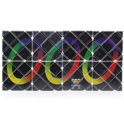 LingAo Mini 8 Panels 3 Rings Black Magic Folding Puzzle Cube Twisty - 1