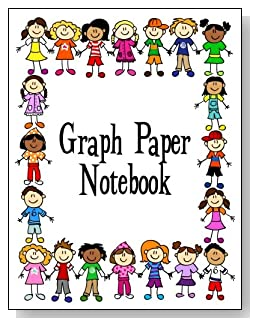 Graph Paper Notebook For Kids - Boys and girls of different races form a colorful border around the cover of this graph paper notebook for younger kids.