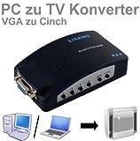 Ligawo ® Pc TV Konverter – VGA Pc Laptop Netbook Notebook ganz einfach mit dem Tv oder Beamer verbinden