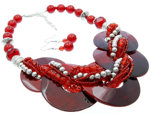 NECKLACE AND EARRING SET METAL LUCITE BEAD RED Fashion Jewelry Costume Jewelry fashion accessory Beautiful Charms