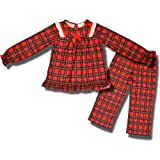 Holiday Red Plaid Flannel Pajamas with ribbon and lace for toddler girls