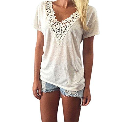 Baonoopy Frauen-Sommer-Weste-Spitze Kurzarm Bluse Lässige Tank-Tops T-Shirt Spitze (Large)