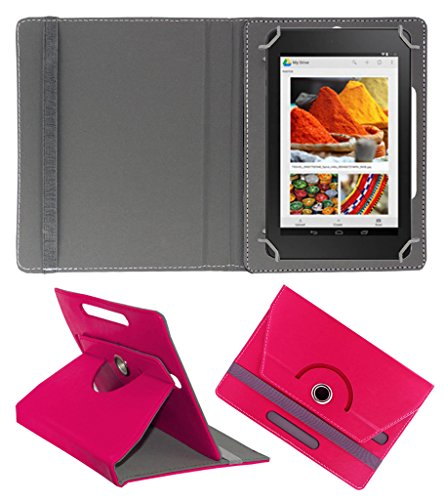 Acm Rotating 360° Leather Flip Case For Dell Venue Cellular 7 Tablet Cover Stand Dark Pink  available at amazon for Rs.149
