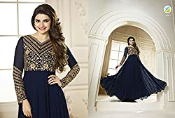 Shree Fashion Woman's Georgette With Dupatta [Shree (80)_Blue]