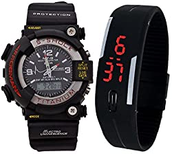 Pappi Boss Combo of 2 Multi-function Black S-Shock & Jelly Slim Silicone Rubber Digital Led Band Watch