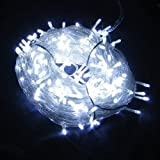 300 LED 32M White String Fairy Lights On Clear Cable with 8 Light Effects, Ideal for Christmas, Xmas, Party,Wedding,ETC; Free Shipping by Royal Mail 1st Class