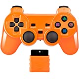 Wireless Controller 2.4G Compatible with Sony Playstation 2 PS2 (Orange)