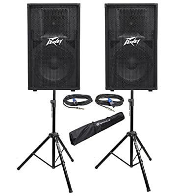 "Package: (2) Peavey PV 115 800 Watt 15"" 2 Way Speaker Systems + Rockville RVSS2-TSNL4 Pair of Adjustable Pro Speaker Stands + (2) 1/4"" to Speakon NL4 Cables + Carrying Case"