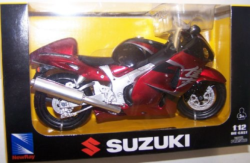 Newray 1/12 Scale Motorcycle 05 Suzuki Gsx-r1300r Hayabusa in Color Red and Silver
