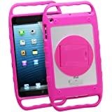 """GreatShield Kid-Friendly Rugged TUFF Series Durable Hybrid Case With 360-Degree Rotating Swivel Stand & Side Grip Handles For Apple iPad Mini 7.9"""" Inch Tablet - Pink"""