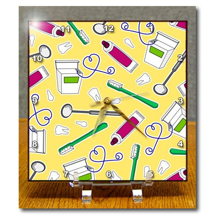 Dc_165821_1 Janna Salak Designs Occupational Gifts - Cute Dentist Dental Hygienist Print Yellow - Desk Clocks - 6X6 Desk Clock