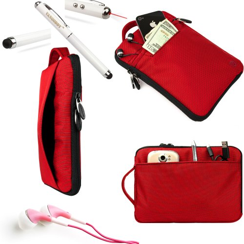 Maylong Accessories From Vangoddy Presents Our Exclusive Hydei Padded Protective Carrying Case Cover In Fire Red **Fits The Maylong Mobility M 290** + Red Noise Cancelling Maylong Mobility M 290 Compatible Ear Buds + 3 In 1 Capacitive Tipped Stylus (Led F
