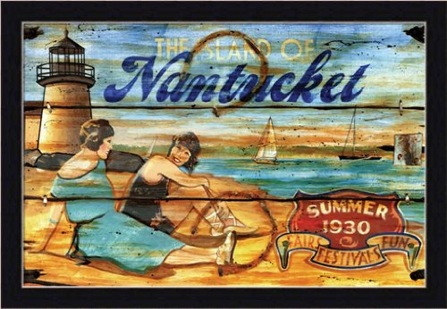 Nantucket Summer By Red Horse Studios Weathered Style Sign 19.5X13.5 Framed Art Print Picture front-1037953
