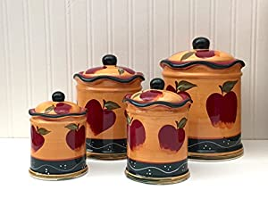 kitchen decor country apple 4pc canister set