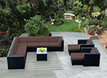 Hot Sale Genuine Ohana Outdoor Patio Sofa Sectional Wicker Furniture 12pc Brown Cushion Couch Set with Free Patio Cover