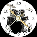 Drum Kit Novelty Cd Clock Free Desktop Stand