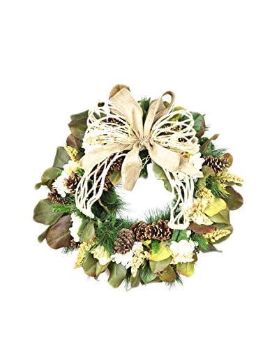 Creative Displays Magnolia and Hydrangea Fall Wreath, Brown/Crème/White