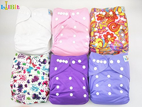 LilBit New 6 pcs Pack Reusable Washable One Size Pocket Baby Cloth Diapers