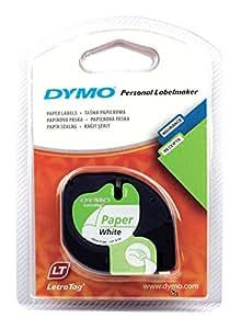 Dymo S0721520 LetraTag-Band, Papier, 12 mm x 4 m, schwarz/weiß