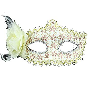 Venetian Elegant Print Party Prom Cosplay Lace Mardi Masquerade Mask with Flower