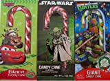 Giant Themed Candy Canes. Turtles, Star Wars & Cars. Boys-pack of 3