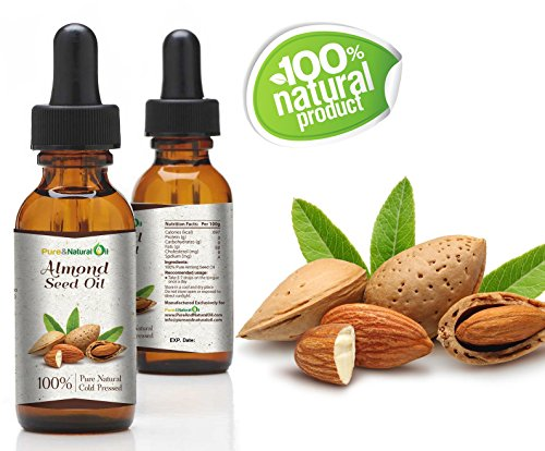 Pure And Natural Oil 100% Pure ALMONDS Cold Pressed Seed Oil - / Natural / Undiluted / Virgin / Unscented/ Certified Organic/ Cold Pressed Carrier Oil for Skin, Hair, Massage ,Nail (100ml | 3.38oz)