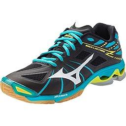 Mizuno Wave Lightning Z Women\'s Volleyball Shoes - Black & Alaskan Blue (Woman\'s 10)