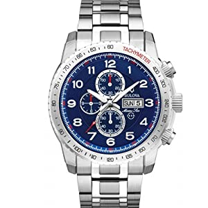 Bulova Watches Mens Marine Star Blue Silver Chronograph Watch