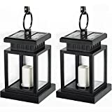 [Pack of 2] LVJING Vintage Waterproof Solar Hanging Umbrella Lantern Led Candle Lights with Clamp for Beach Umbrella Tree Pavilion Garden Yard Lawn Outdoor Camping Hiking Fishing (Black)