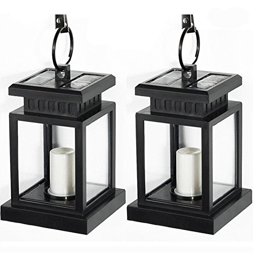 [Pack of 2] LVJING Vintage Waterproof Solar Hanging Umbrella Lantern Led Candle Lights with Clamp for Beach Umbrella Tree Pavilion Garden Yard Lawn Outdoor Camping Hiking Fishing (Black) (Solar Panel Pond Heater compare prices)