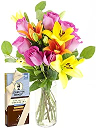 Mad for You Lilies & Roses Bouquet and Scharffen Berger Chocolate - With Vase
