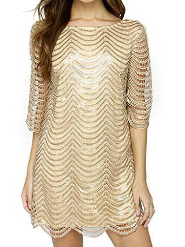 Joeoy Women's Metallic 3/4 Sleeve Wave Gold Shift Party Dress With Scallop Edge-S