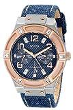 ゲス GUESS Women's U0289L1 Silver and Rose Gold-Tone Denim Multi-Function Watch 女性 レディース 腕時計 【並行輸入品】