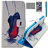 iPhone 6/6S 4.7 inch Case, LEXY PU Leather Full Body Case with Credit ID Cards Holders & Stand for iPhone 6/6S 4.7 inch with Screen Protector and Stylus (High Heel)