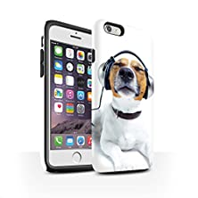 buy Stuff4 Matte Tough Shock Proof Phone Case For Apple Iphone 6 / Chillin Headphone Dog Design / Funny Animals Collection