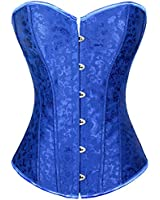 Sue Shop Wholesale Blue Floral Overbust Lace up Corset/Bustiers