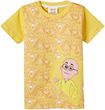 Motu Patlu Boys' T-Shirt (HST-2009_L.Gold_5-6 years)