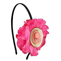 Sparkling Stone Big Flower Pink Hairband/Headband