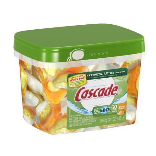 Cascade Actionpacs Dishwasher Detergent, Citrus Scent, 60-Count Pacs front-477517