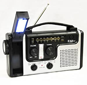 topAlert Emergency Solar Hand Crank Dynamo AM/FM/NOAA Weather Radio, Flashlight, Reading LED Light, Cell Phone Charger w/ USB adaptor